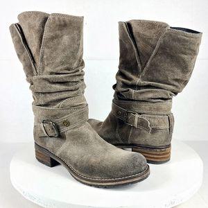 Clarks Leather Boots Sz 8 Majorca Villa Suede Moto Buckle Taupe Charcoal Comfort